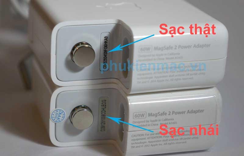 Cách phân biệt sạc Macbook air chính hãng và hàng fake